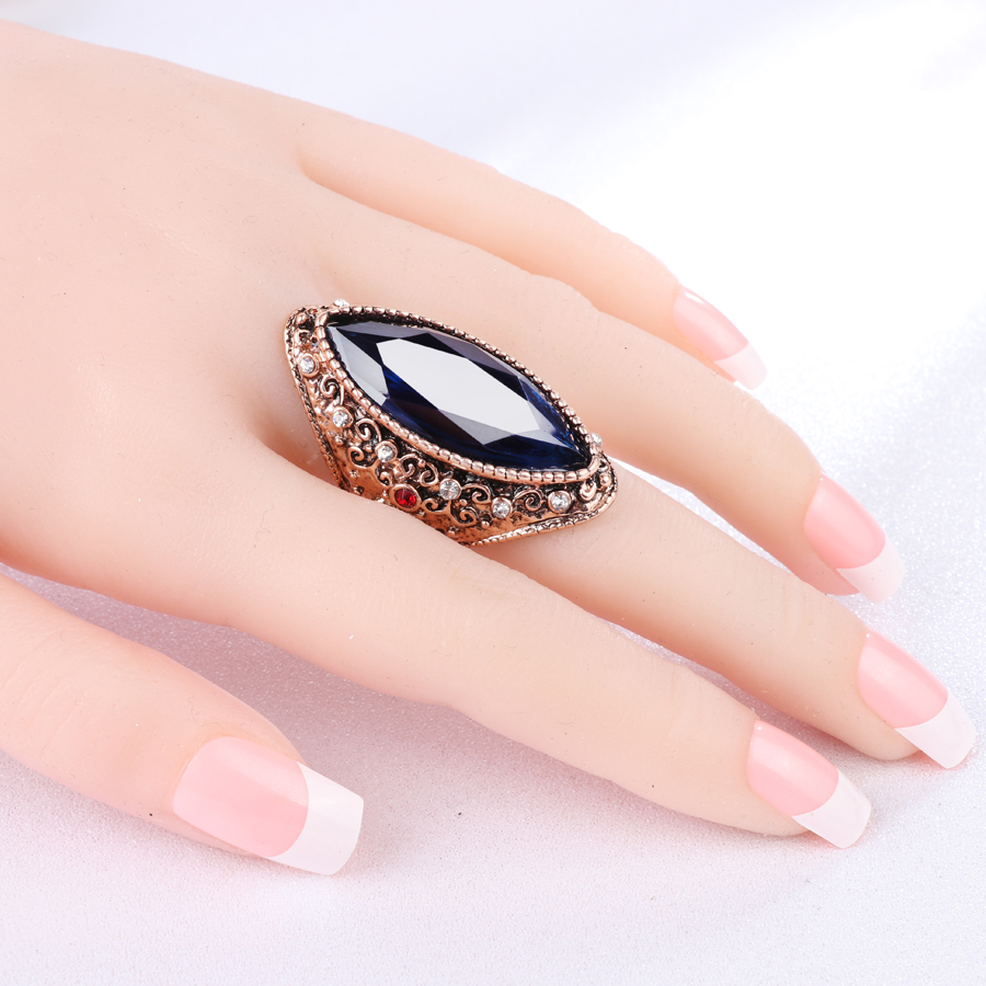 Kinel Hot Fashion Big Crystal Ring Ancient Gold Vintage Jewelry ...
