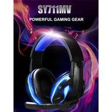 SY711MV Hifi Auriculares Auriculares Bass Stereo Gaming Headset 3.5mm + USB Micrófono de cancelación de Ruido Auriculares LED para PC Gamer