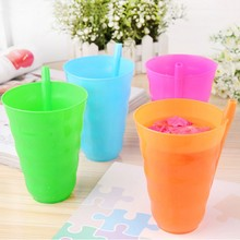 Kids Children Infant Baby Sip Cup with Built in Straw Mug Drink Home Colors(China)