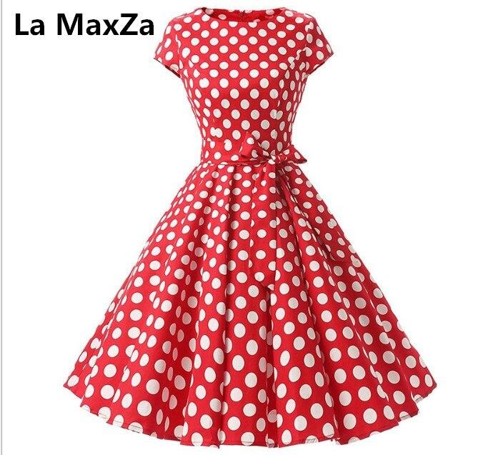 La MaxZa 2019 femmes d'été imprimer robe robes largos de verano casual vintage vêtements parti robes Élégant Tunique rouge dot robe