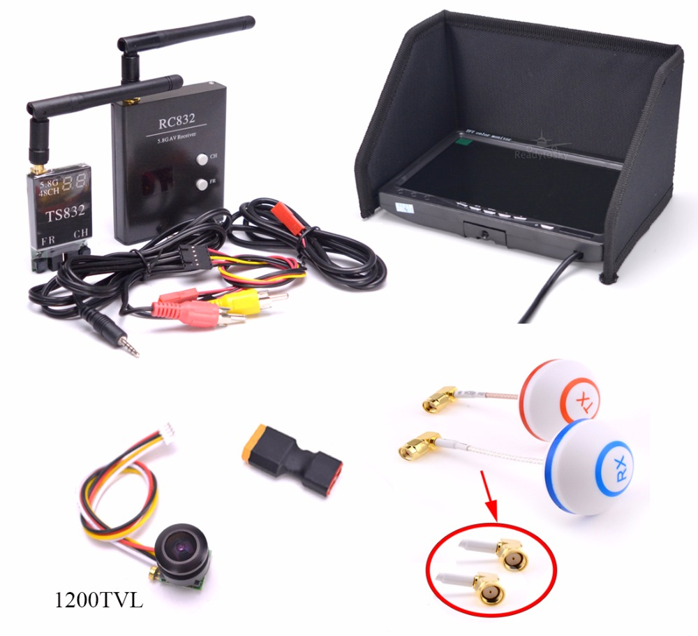 New Fpv Kit Combo System 1200TVL Camera 5.8Ghz 600mw 48CH TS832 transmitter RC832 Plus Monitor for Rc airplane F450 S500
