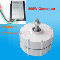 800W three phase permanent magnet generator 24v/48v AC generator low RPM with wind charge controller 24v 48v