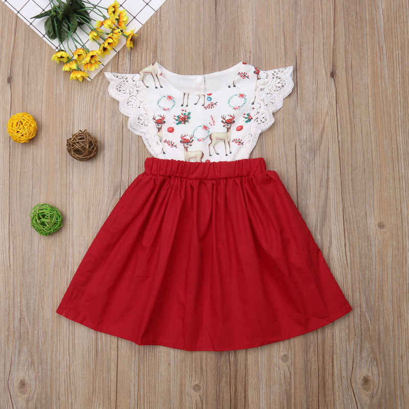 a7cbae89ffb81 Christmas Newborn Toddler Baby Sister Match Clothes Deer Print Patchwork  Romper Tops Lace Sleeveless Princess Dress Xmas Outfits