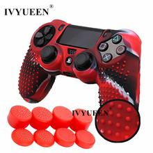 IVYUEEN for PlayStation Dualshock 4 PS4 Pro Slim Controller Anti-slip Silicone Case Skin & 8 Analog Thumb Sticks Grip Cover Caps