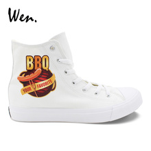 Wen Boy Girl's White Casual Shoes Design BBQ Barbecue Sausage High Top Vulcanized Shoes Canvas Sneakers Cross Straps Loafer Flat