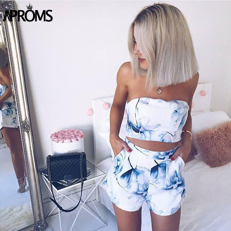 Aproms Elegant Blue Floral Print Two Piece Set Women Summer Streetwear Crop Top And High Waist Shorts Cool Girls Beachwear Tube