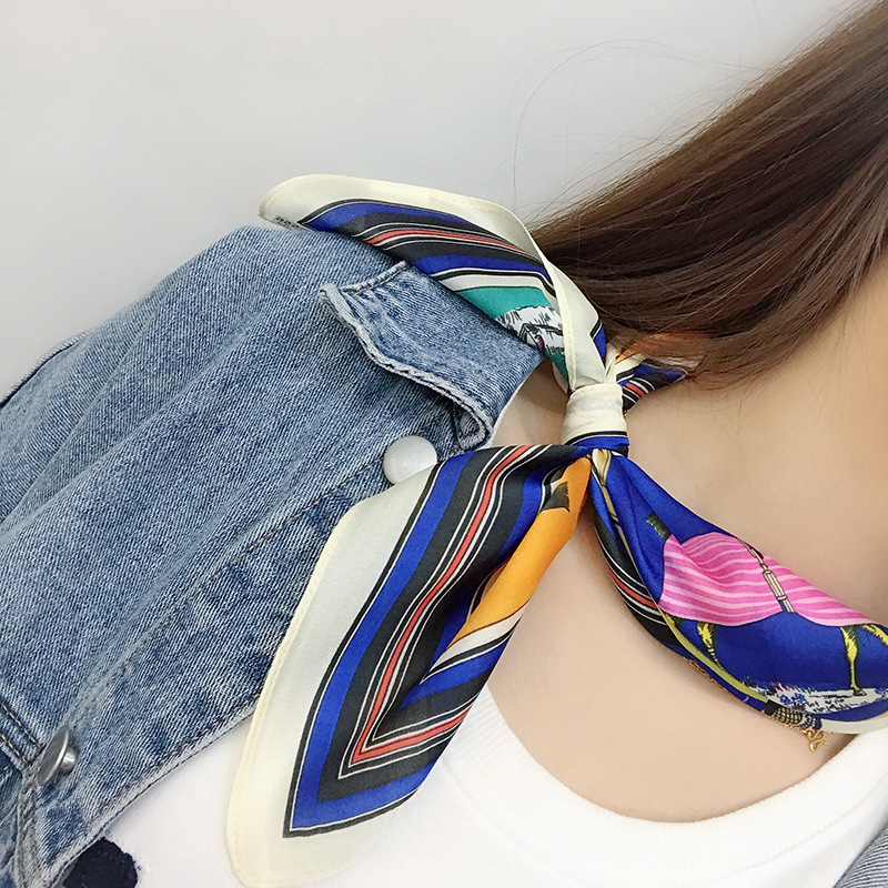 Spring new silk small scarf women retro art square ins decorative high quality fashion 2019