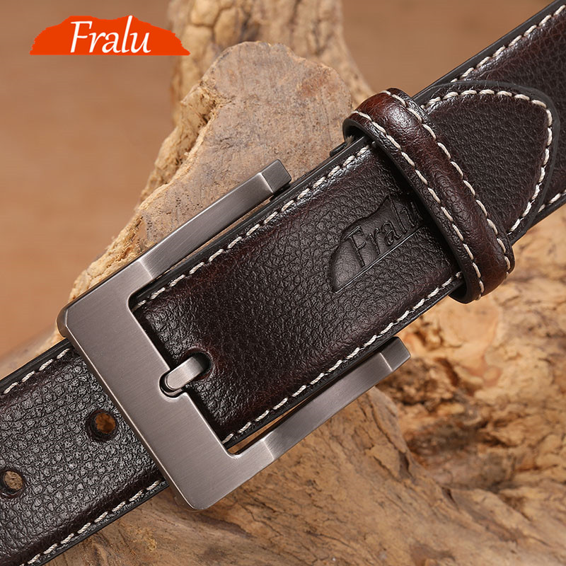 FRALU cow genuine leather luxury strap male   belts   for men new fashion classice vintage pin buckle men   belt   High Quality