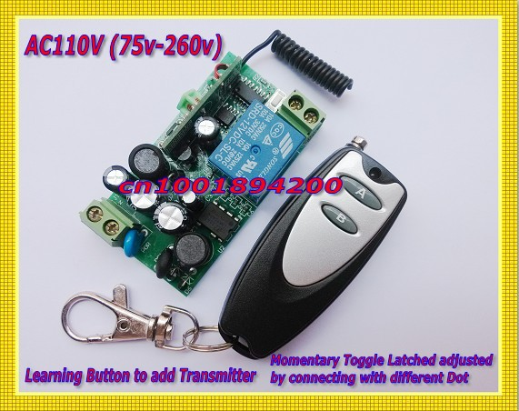 Light Remote Control Switch 110V (85V-260V) RF Wireless LED Lamp Light ON/OFF Remote Switch Learning Code Latched A--ON B--OFFLight Remote Control Switch 110V (85V-260V) RF Wireless LED Lamp Light ON/OFF Remote Switch Learning Code Latched A--ON B--OFF