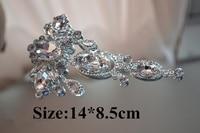 High Quality Sewing On Stunning Rhinestone Applique 1 pcs Silver Base Crystal DIY Wedding Bridal Dress belt and hair accessory