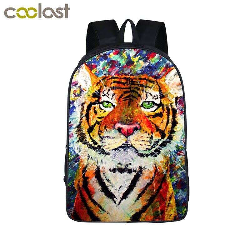 c9ae72f8221de Obraz olejny Tiger Tiger szef Chłopcy Bagpack Plecak Dla Nastoletnich  Dzieci Szkolne Torby Mężczyzna Kobiet Plecak Tornister Ucznia Plecak