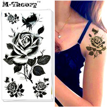 M-theory Sexy Temporary Makeup Tattoos Body Arts 3D Black Roses Flash Tatoos Stickers 17x10cm Tatto Swimsuit Bikini Makeup Tools