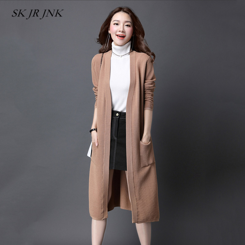 Women Spring Knitted Sweater Autumn Loose Casual Solid Stripe Open Cardigan Pocket Office Long Plus Size Sweater Jacket RS125 inc new black women s size small illusion stripe shimmer cardigan sweater $69