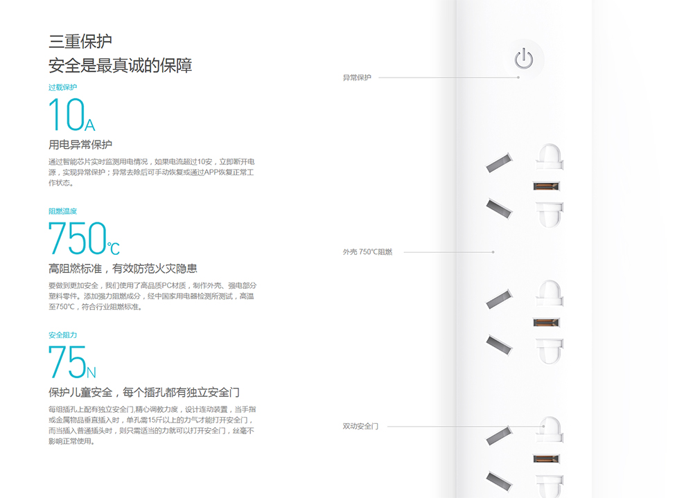 Original Xiaomi Smart Power Socket Strip Plug Adapter with 3 USB Port Smart APP Control (8)