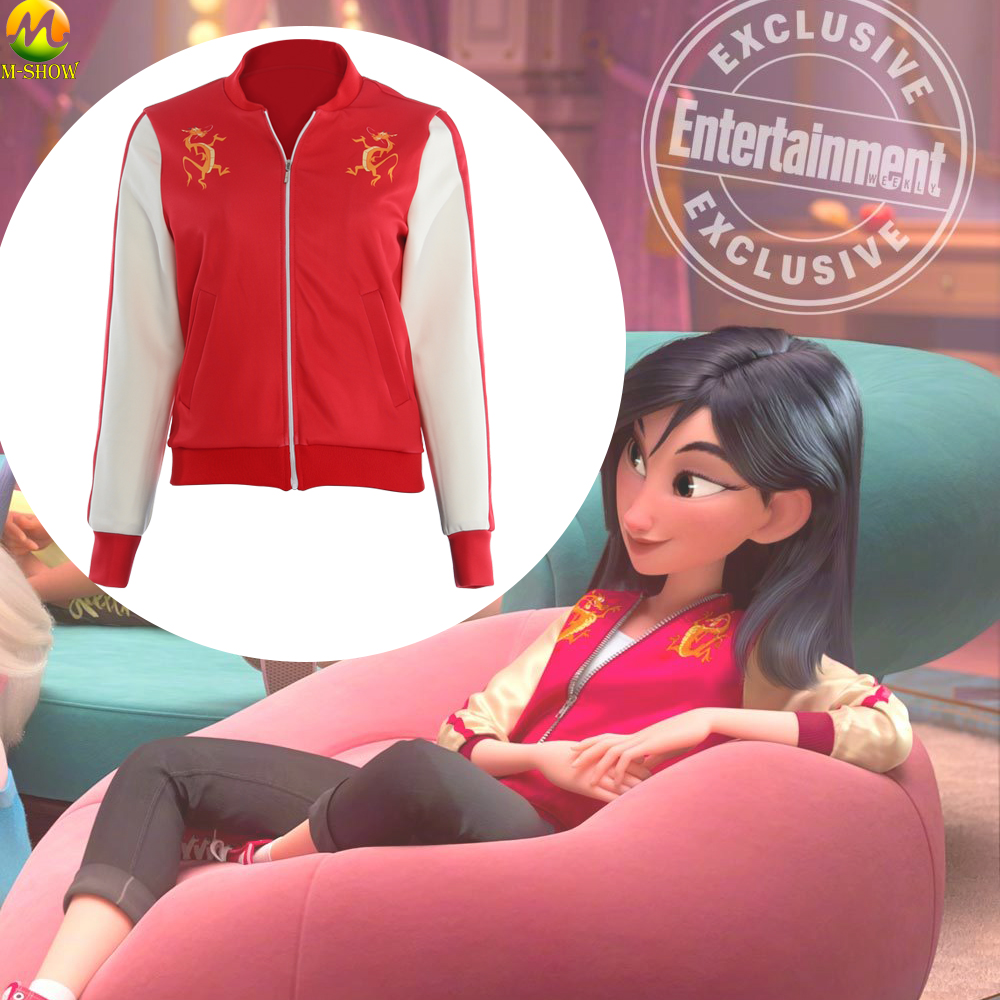 Wreck It Ralph 2 Princess Mulan Jacket Ralph Breaks The Internet Mulan Dragon Cosplay Coat Halloween Women Cosplay Coat