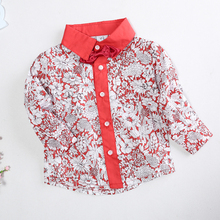 Boys Shirts Kids Camisa Shirt Floral Blouse With Bowknot Autumn Fashion Gentle Men Baby Children Clothes Baby Boy Shirt B0110