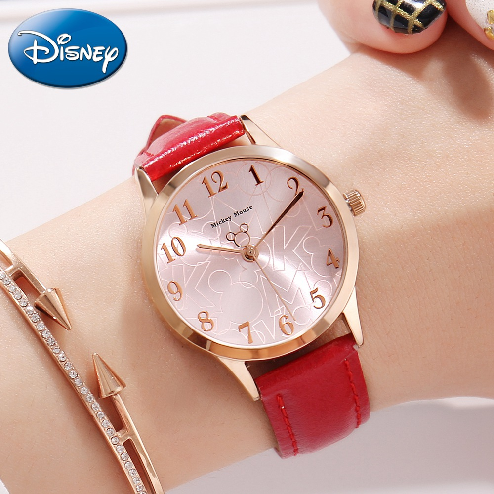 Originele Disney dames lederen Quartz ronde gesp horloges meisje - Dameshorloges