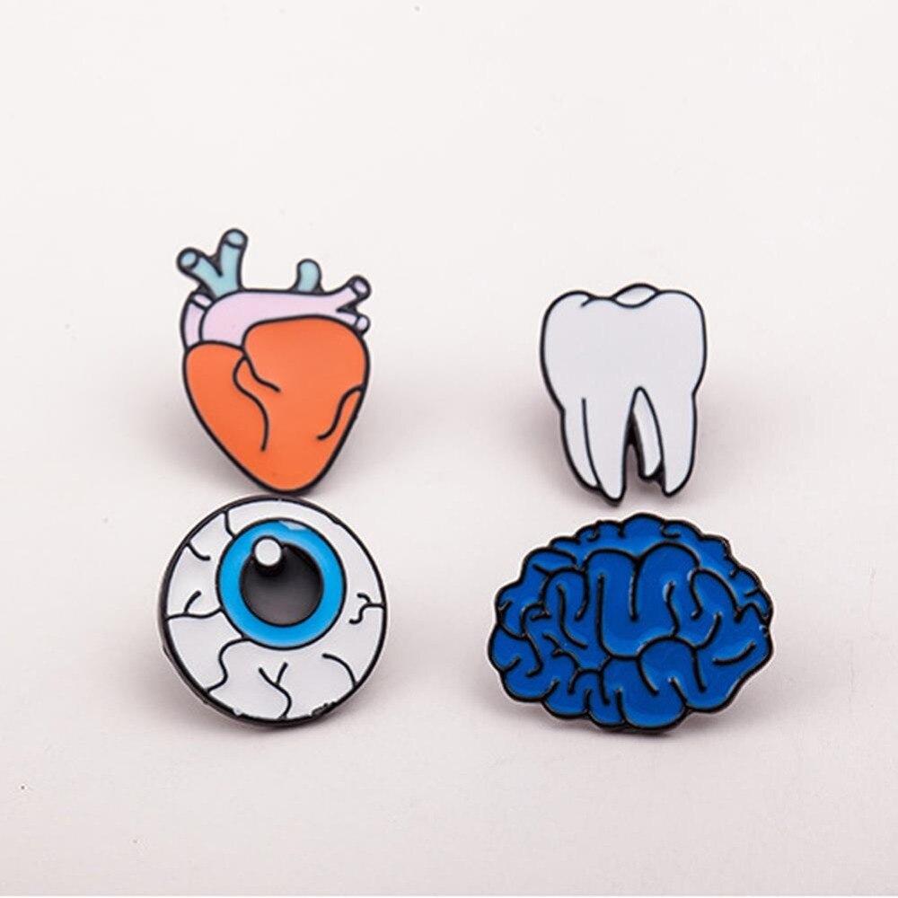 1PC Human Body Organs Piercing Brooch Lapel Pin Collar Zinc Alloy Enamel Eye Teeth Brain Heart Brooches Pins Jewelry XZD23