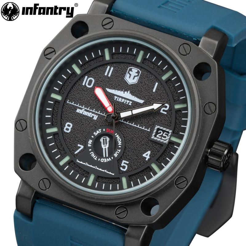 INFANTRY Japan Quartz Watch Men Luxury Brand Rubber Strap Wristwatches Big Dial Waterproof Luminous Clocks Relogio Masculino