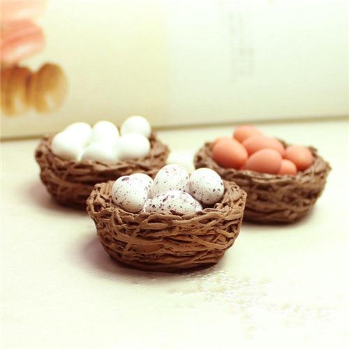 Mini Cute Birds Nest Simulation Eggs Nest Model Miniature Figurine Toys Crafts DIY Micro Fairy Garden Decoration