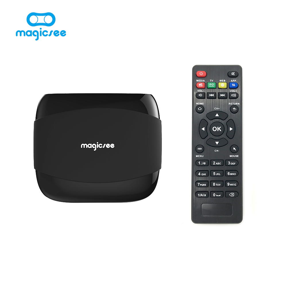 Magicsee N4 Android 6,0 TV BOX Amlogic S905X Quad-core 4 K Resolución 1 GB/8 GB de apoyo 2,4g WIFI LAN HDMI H.265 caja inteligente