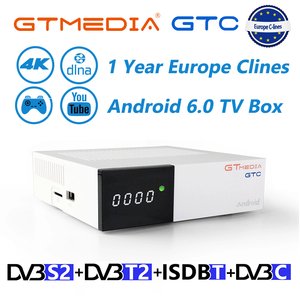Freesat GTmedia GTC Satellite TV Receiver DVB S2 DVB T2 DVB C 4K TV Receiptor Support