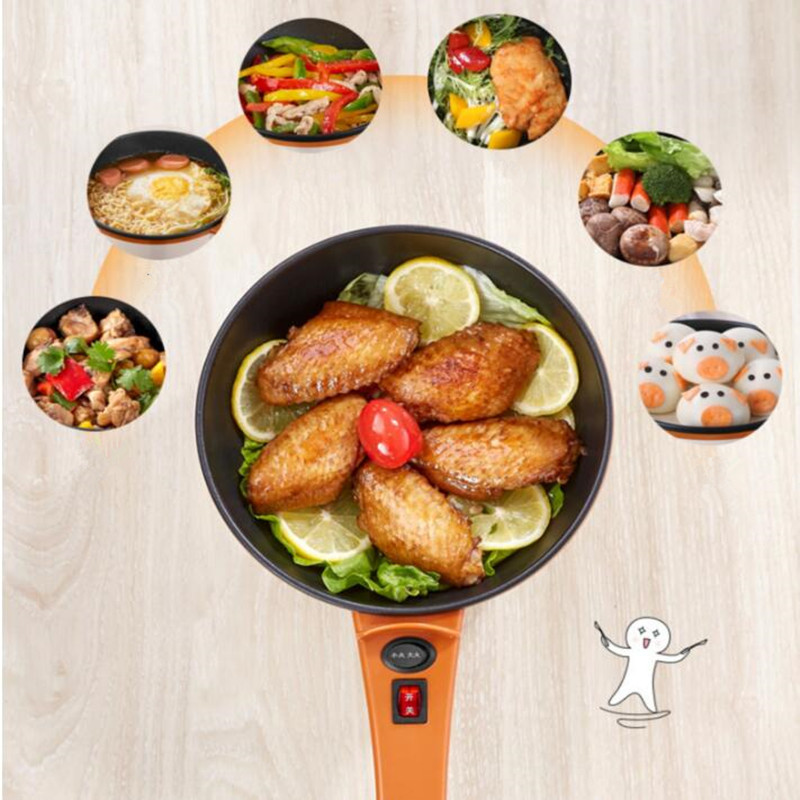 220V Non-stick Multifunction Electric Cooker Mini Electric Frying Pot Cooking Machine Portable Hot Pot EU/AU/UK/US Plug