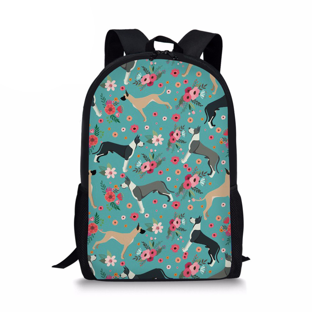 3D Children School Bags Pupils School Great Dane Prints Kids Back Pack School Backpack Orthopedical Mochila Infantil