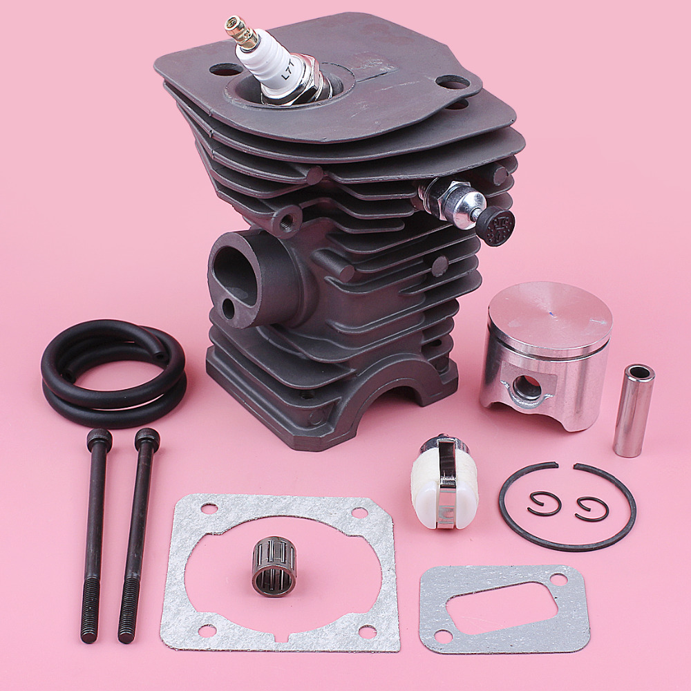 42mm Cylinder Piston Kit For Husqvarna 340 345 Fuel Filter Line Bearing Gasket Decompression Valve Chainsaw Replace Part
