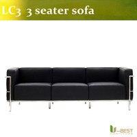 U-BEST lc3 Moda top venda mobiliário moderno sofá de canto, sofá de couro 3 lugares sofá designer