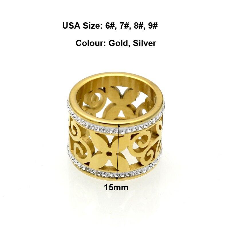 BORASI New Crystal Rings For Women White Rhinestone Stainless Steel Gold Color Wedding Female Flower Rings Teen Jewelry 3
