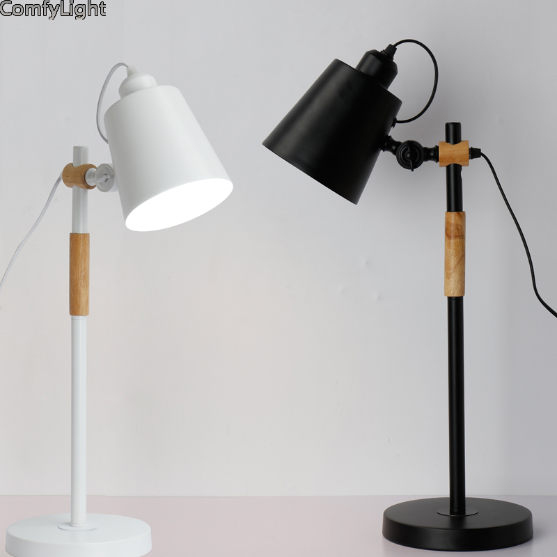 LED E27 Table Lamp iron designer Lampshade night Bedside Desk lights Modern Book Lamps E27 110V 220V Reading Lighting Fixture wooden table lamp with fabric lampshade wood bedside desk lights modern book lamps e27 110v 220v reading lighting fixture