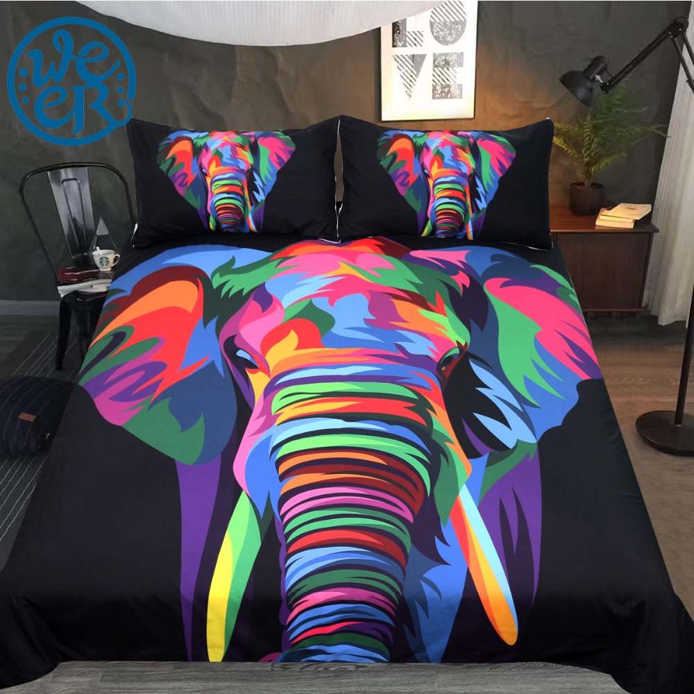 Spiritual Elephant by Weer Bedding Set Watercolor Art Duvet Cover Colorful  Animal Bed Set for Adults Indian Bedclothes 3-Piece