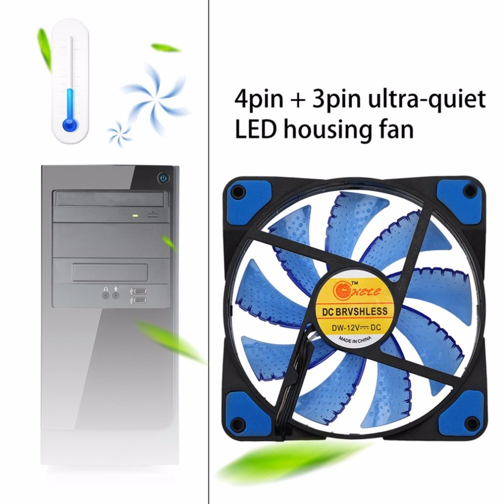 New Cooler Computer Fan 120mm LED Ultra Silent Computer PC Case Fan 15 LEDs 12V Around 1200RPM 3 Pin Easy Installed Fan