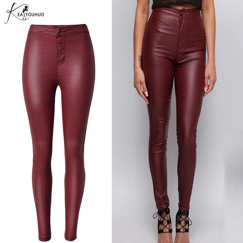 خريف 2018 السيدات السراويل النسائية الصلبة النبيذ الأحمر بو الجلود سروال رصاص المرأة طماق ضئيلة الإناث عالية الخصر pantalon فام
