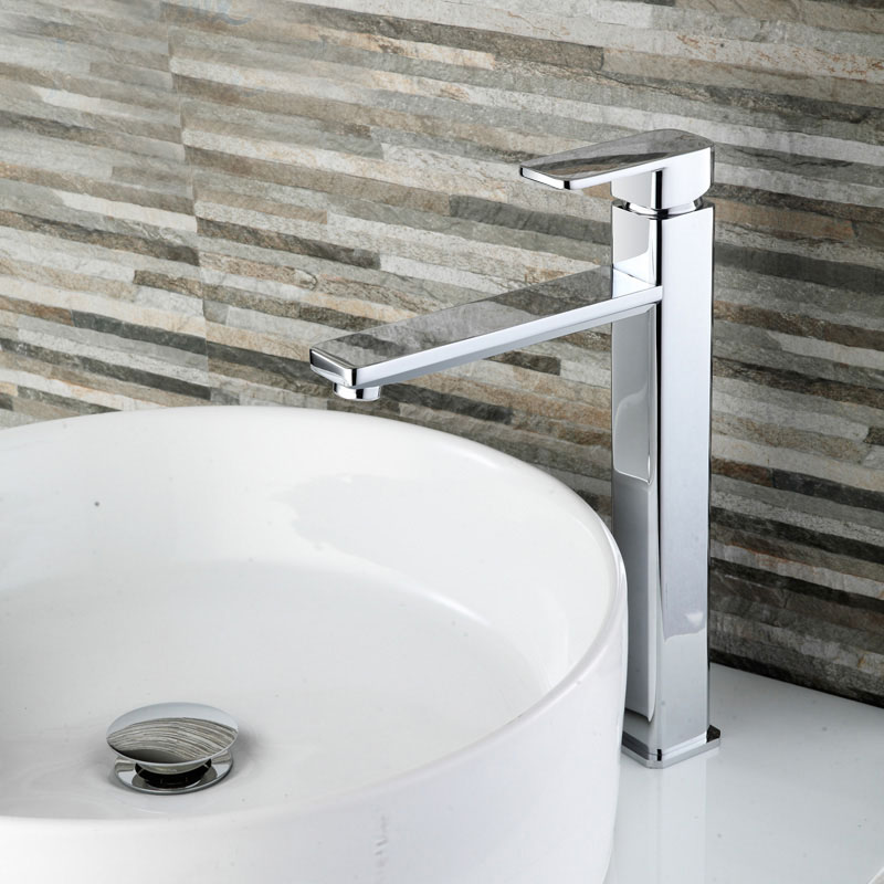 Free Shipping Chrome Brass Bathroom Faucet Tall Bath Lavatory Vessel Sink Basin faucet Mixer Taps Cold Hot Water tap 2231291 2x new stainless steel chrome bathroom bath sink vessel basin overflow waste drain drainer