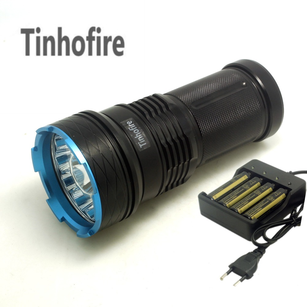 Tinhofire 20000 lumens King 12T6 LED flashlamp 12 x CREE XM-L T6 LED Flashlight Torch For Camping Hunting Lamp +Battery charger 20000 lumens skyray king 10 x cree xm l t6 led flashlight torch lamp light for hunting camping 4 pcs 18650 battery charger