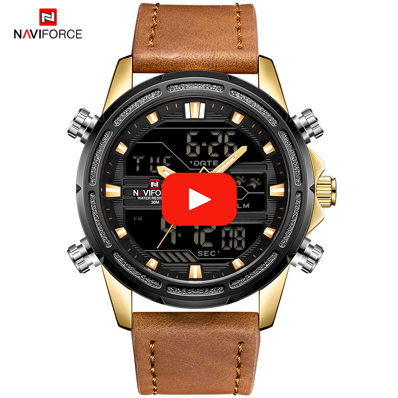 NAVIFORCE Luxury Top Brand Watch Men Fashion Sport Watches Men's Waterproof Quartz Clock Leather Strap Army Military Wrist Watch men sport watch naviforce luxury brand men military quartz watches fashion casual leather strap auto date 30m waterproof watches