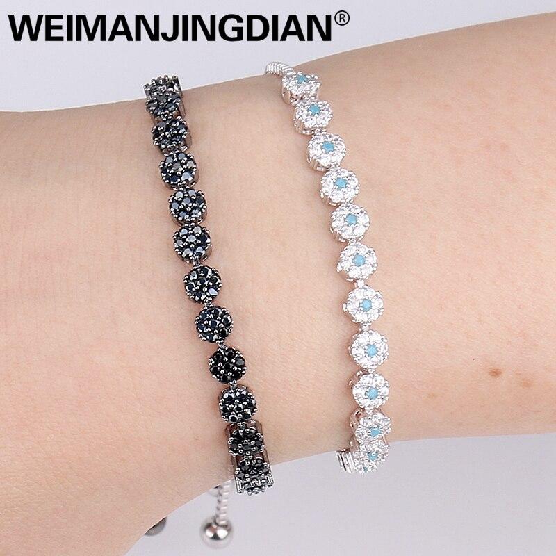 WEIMANJINGDIAN Cubic Zirconia Black / Fuschia / Blue CZ Crystal Small Flower Bolo Bracelets for Women Zircon Jewelry Collections