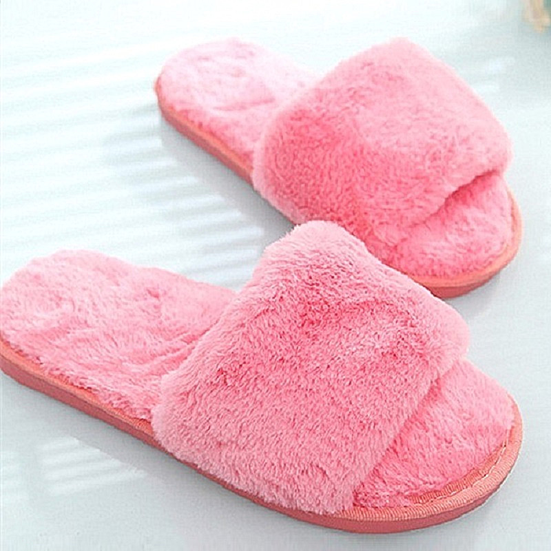 Fashion Fluffy Fur Women Winter Slippers Female Slip On Slides Casual Shoes Plush Indoor Zapatos Mujer plush flat indoor cartoon flock adult furry slippers fluffy winter fur animal shoes rihanna house home women adult slipper anime