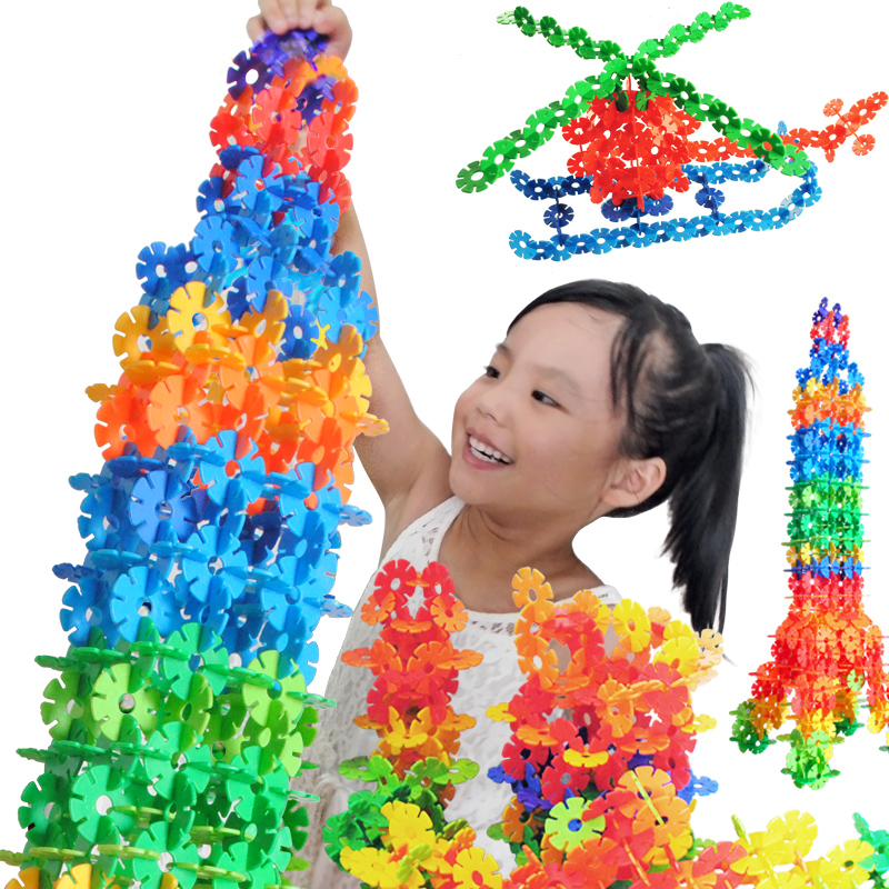 100PCS Snow Flake Building Blocks Toy Bricks DIY Assembling Classic Toys Early Learning Educational Toys For Children Kids