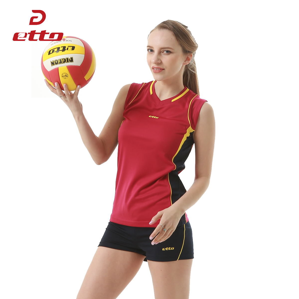 Etto 2018 New Professional Women Volleyball Jerseys Uniforms Sportwear Suit Female Volleyball Sleeveless Training Kits HXB008