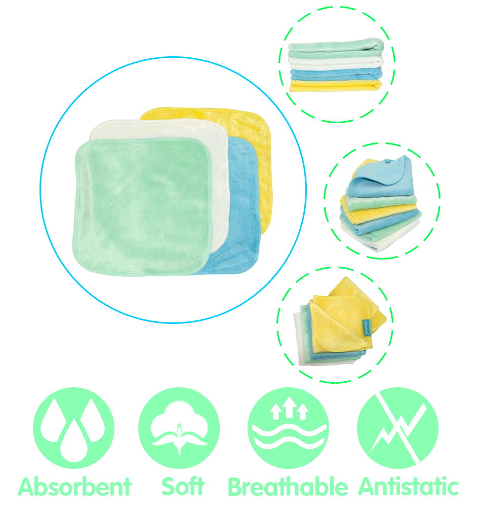 (4pcs/lot)ICLOTHUP 21*21cm Bamboo Velour Baby Wipe,reusable Wash Cloth, Super Soft For Sensitive