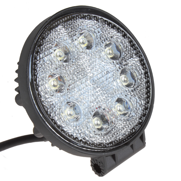 1600LM 24W High Power Round Car Offroad LED Working Light Off Road LED Work Lamp with 8X 3W Bead LEDs for Truck Jeep ATV Boat 19inch 40w 6500k ip67 4000lm car led high power working light headlights for truck outdoor work lamp