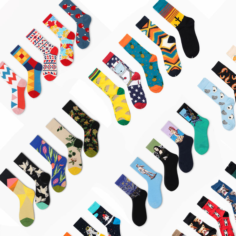 5 Pair/Lot Art Happy Socks Funny Womens Men Colour Crew Cotton Short With Print Casual Harajuku Fuzzy Socks Fashion Japanese