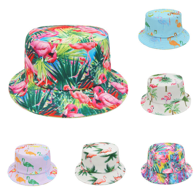 New Design Flamingo Print Bucket Hat Summer Bucket Caps Boonie Hunting  Fishing Casual Male Female Outdoor Fisherman Hat Sun Cap-in Bucket Hats  from Apparel ... 9e104b9f543