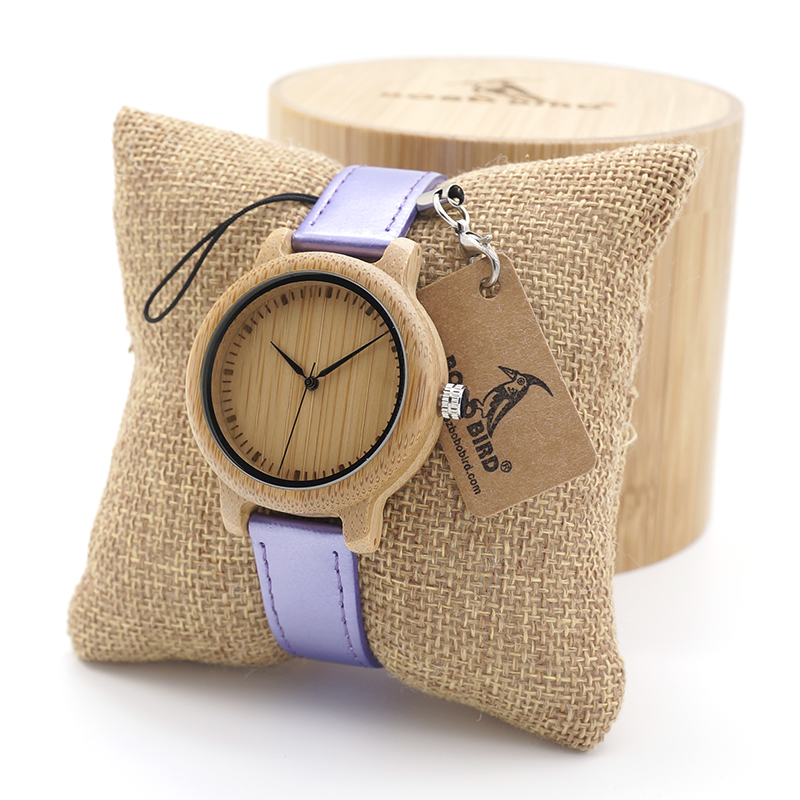 BOBO BIRD Children's Cute Simple Design Wood Quartz Watches with PU Leather Band for Kids as Gift in Round Bamboo Box bobo bird e21 new arrival bamboo wood men watches with mental quartz watches real leather band janpanese movement in gift box