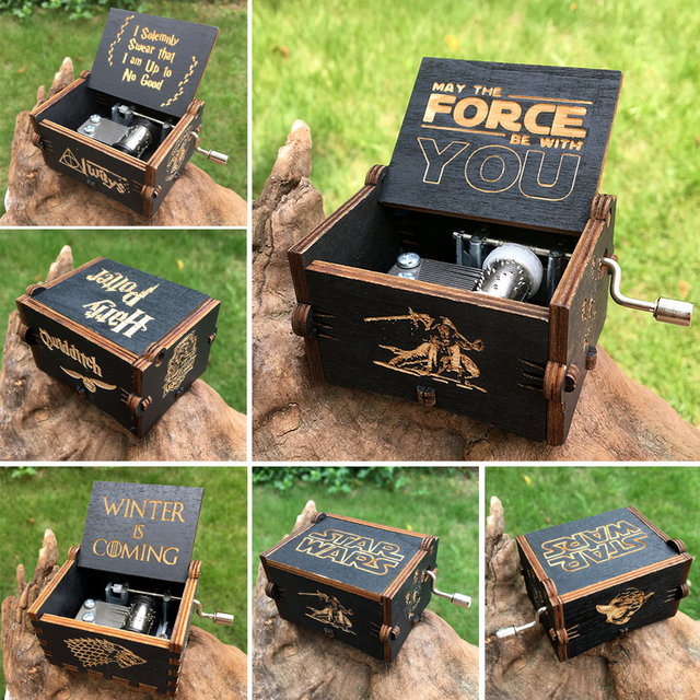 Retro Carved Wooden Star Wars Music Box Game of Thrones Music Box  Music Theme Caixa De Musica A Birthday Present
