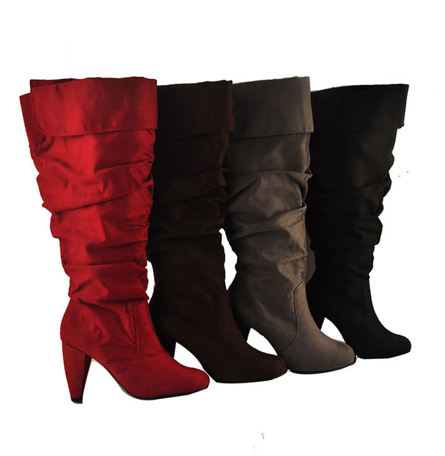 Spring Autumn Women Red Soft Leather Slouch Boots Zipper Style Office Las Thigh High For Plus Size 12