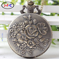 Fashion retro rose carved pocket watch male Ladies Watch quartz watch gift birthday gift DS159